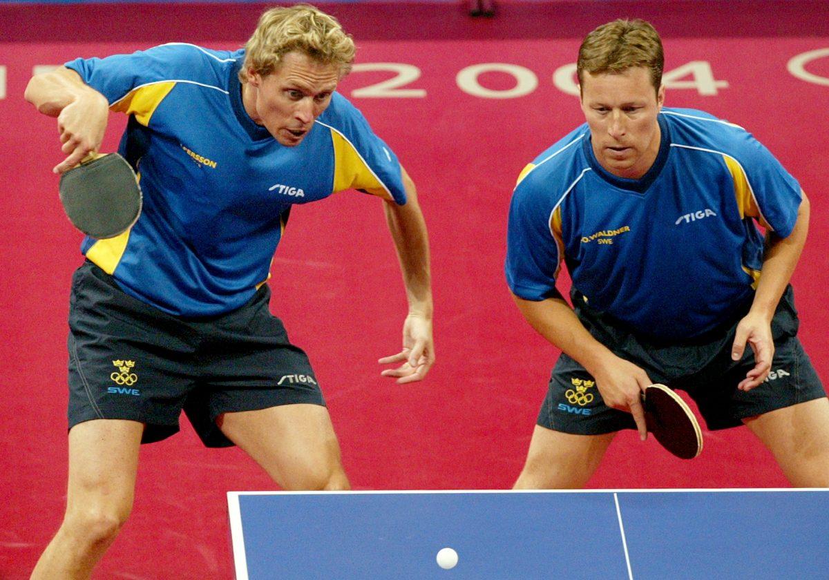 世界卓球開催地ハルムスタッド出身のパーソン(左)と「百年に一度の天才」ワルドナー(右)