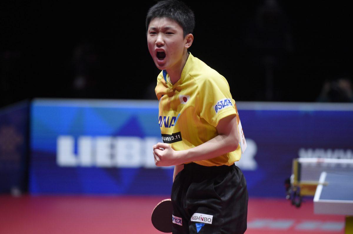 世界卓球2018シンガポール戦の張本(JOCエリートアカデミー)