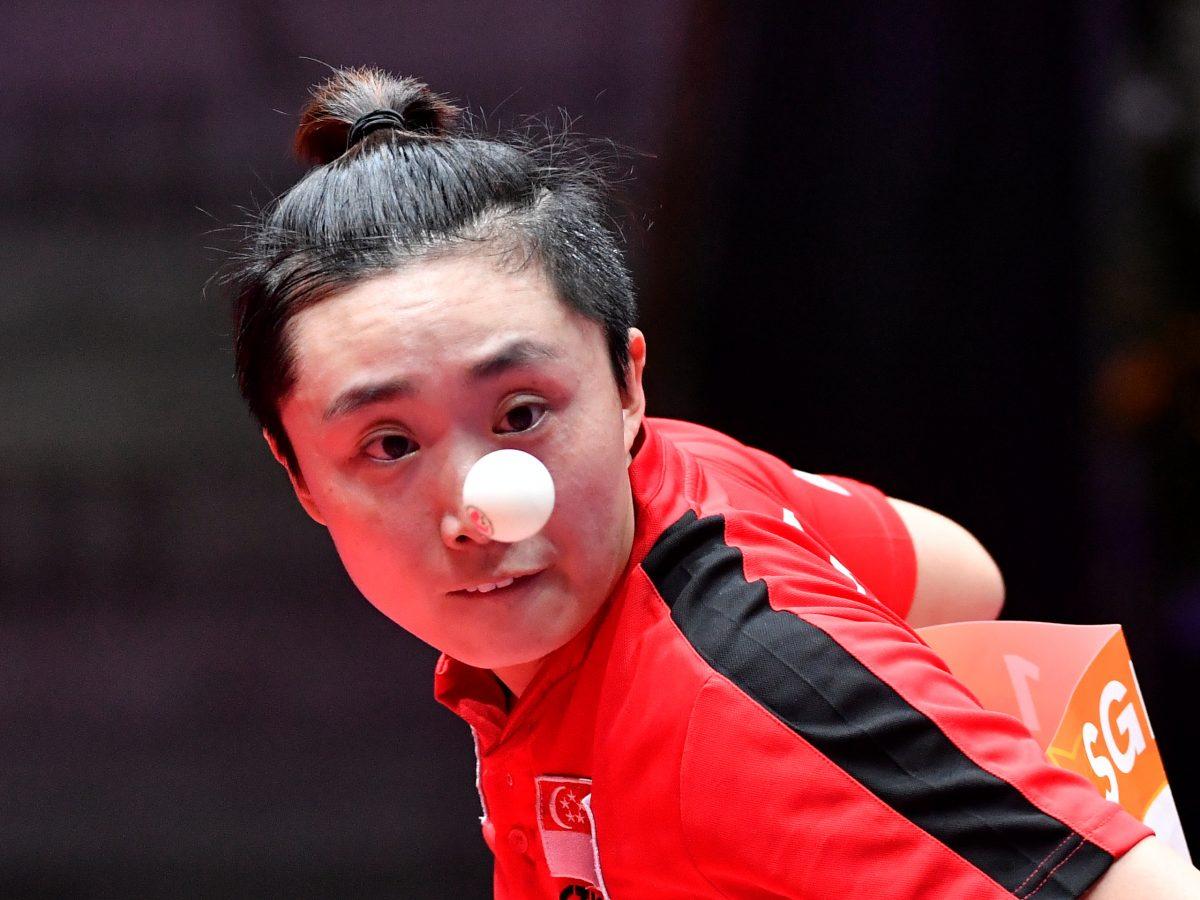 世界卓球2018女子決勝トーナメント1回戦、シンガポールのフォンテンウェイ