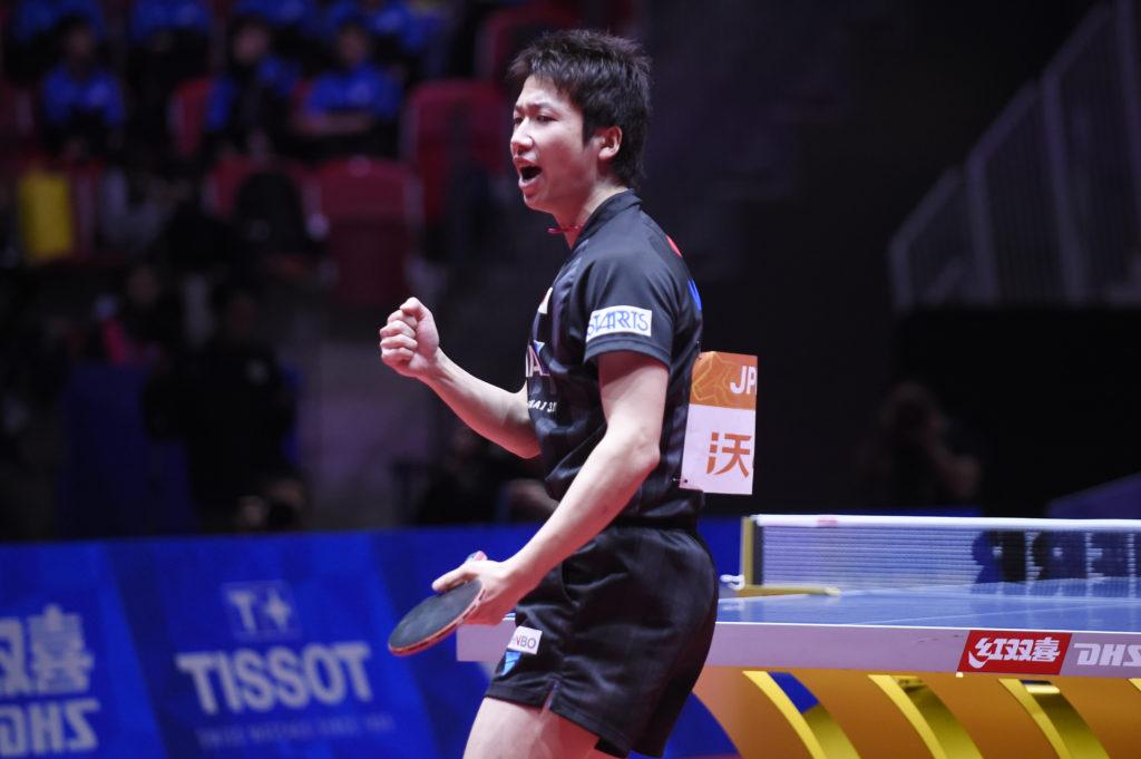 世界卓球2018ベスト8決定戦の水谷隼(木下グループ) 写真:千葉格/アフロ