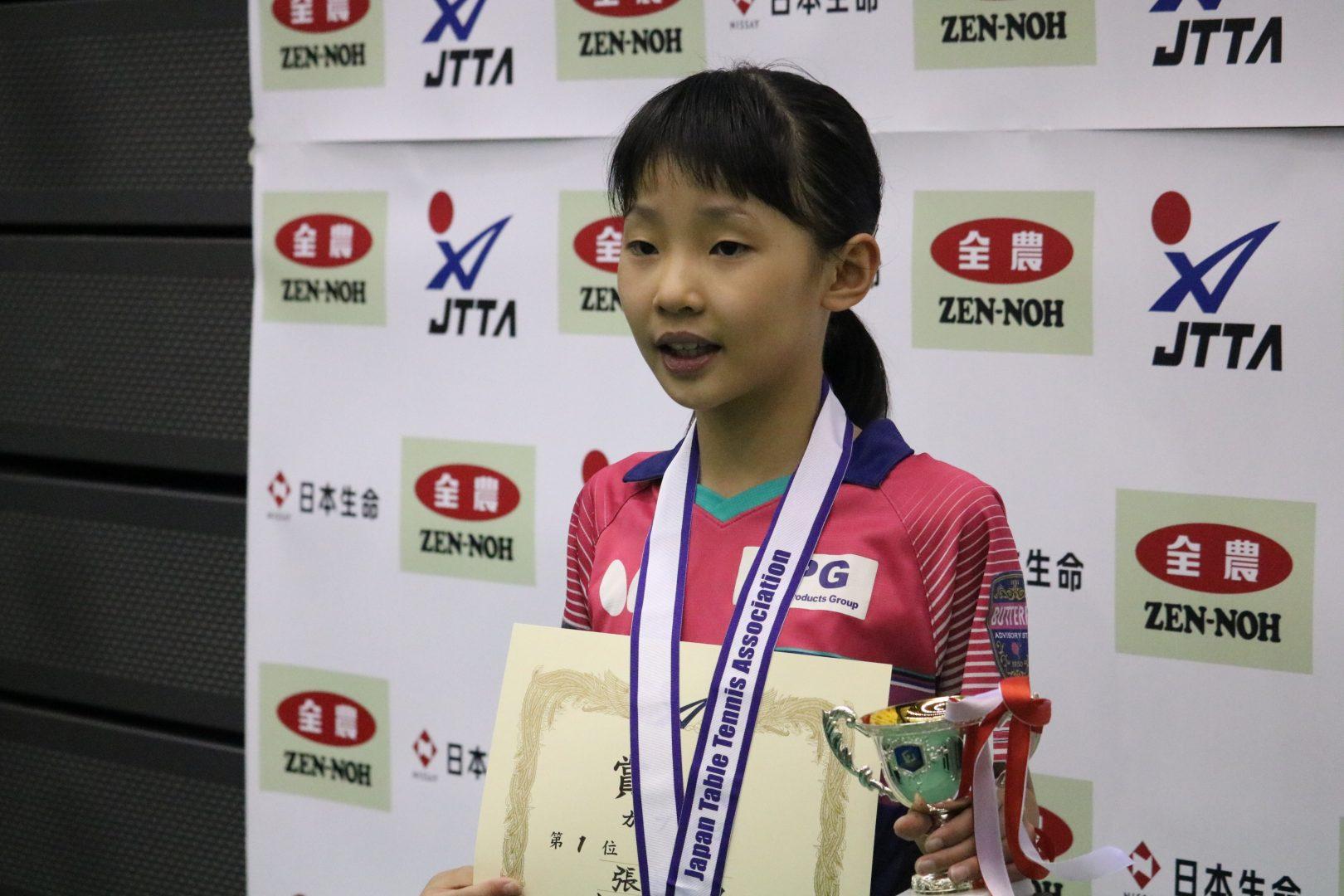張本美和が3年ぶり2度目の日本一<卓球・全日本ホカバ>