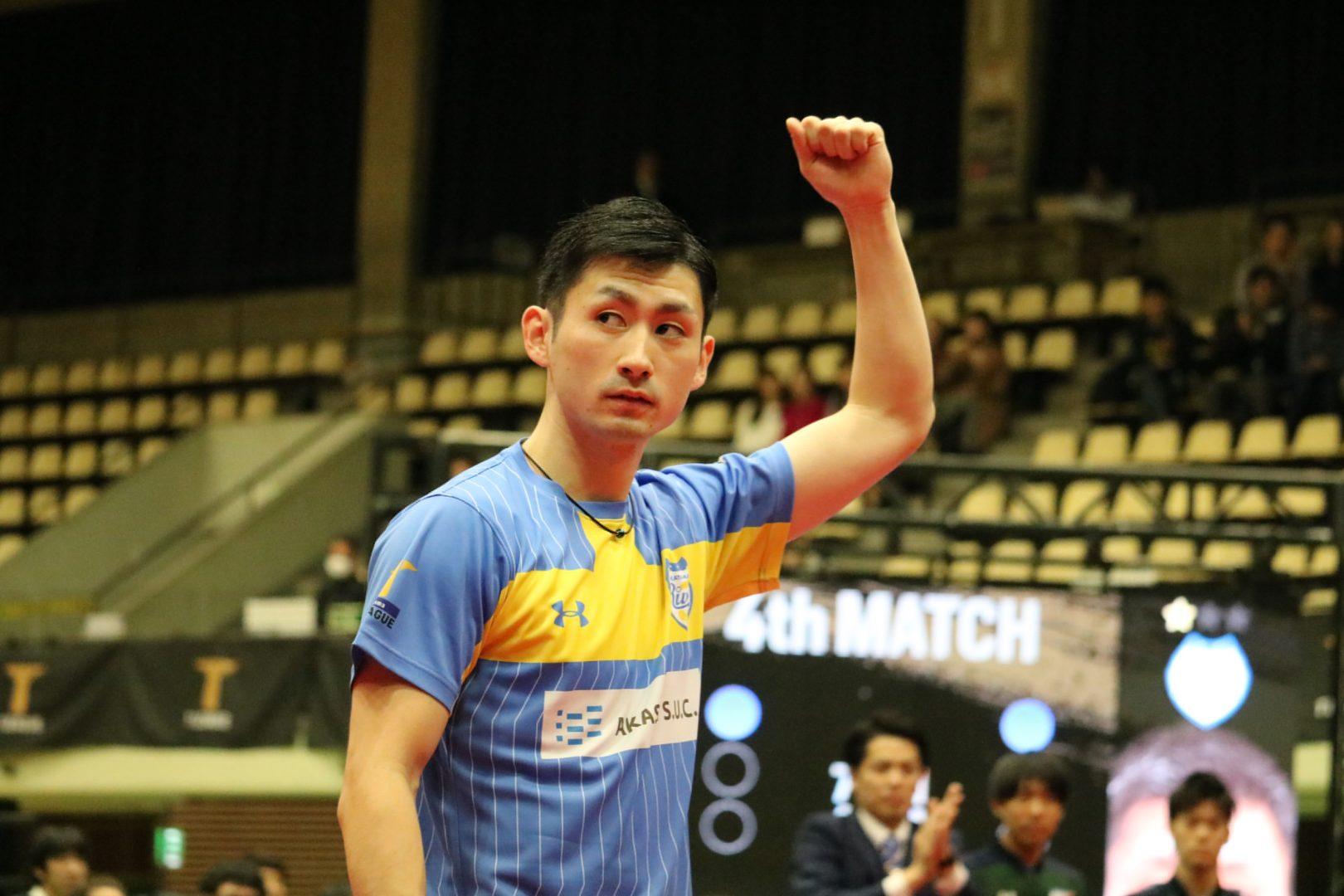 【卓球・Tリーグ】岡山、琉球に3連勝 上田が2点取りで主将の意地を見せる