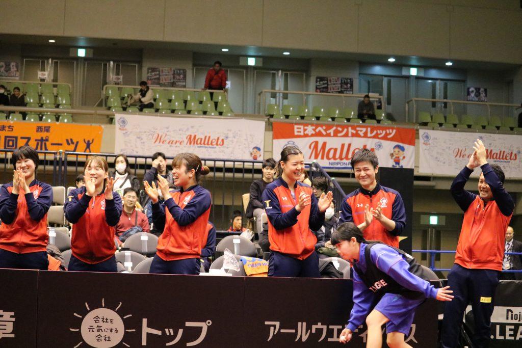 写真:勝利に沸く日本ペイントマレッツベンチ/撮影:ラリーズ編集部
