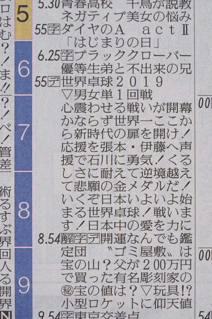 写真:新聞に掲載されているラテ欄/提供:テレビ東京