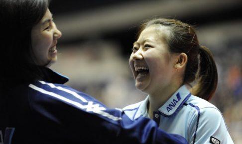 写真:張莉梓コーチ(左)と福原愛さん(右)/提供:琉球アスティーダ