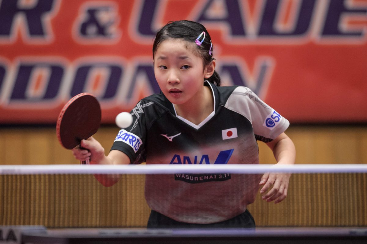 写真:ITTFジュニアサーキット・チェコオープン時の張本美和(木下グループ)/提供:ittfworld