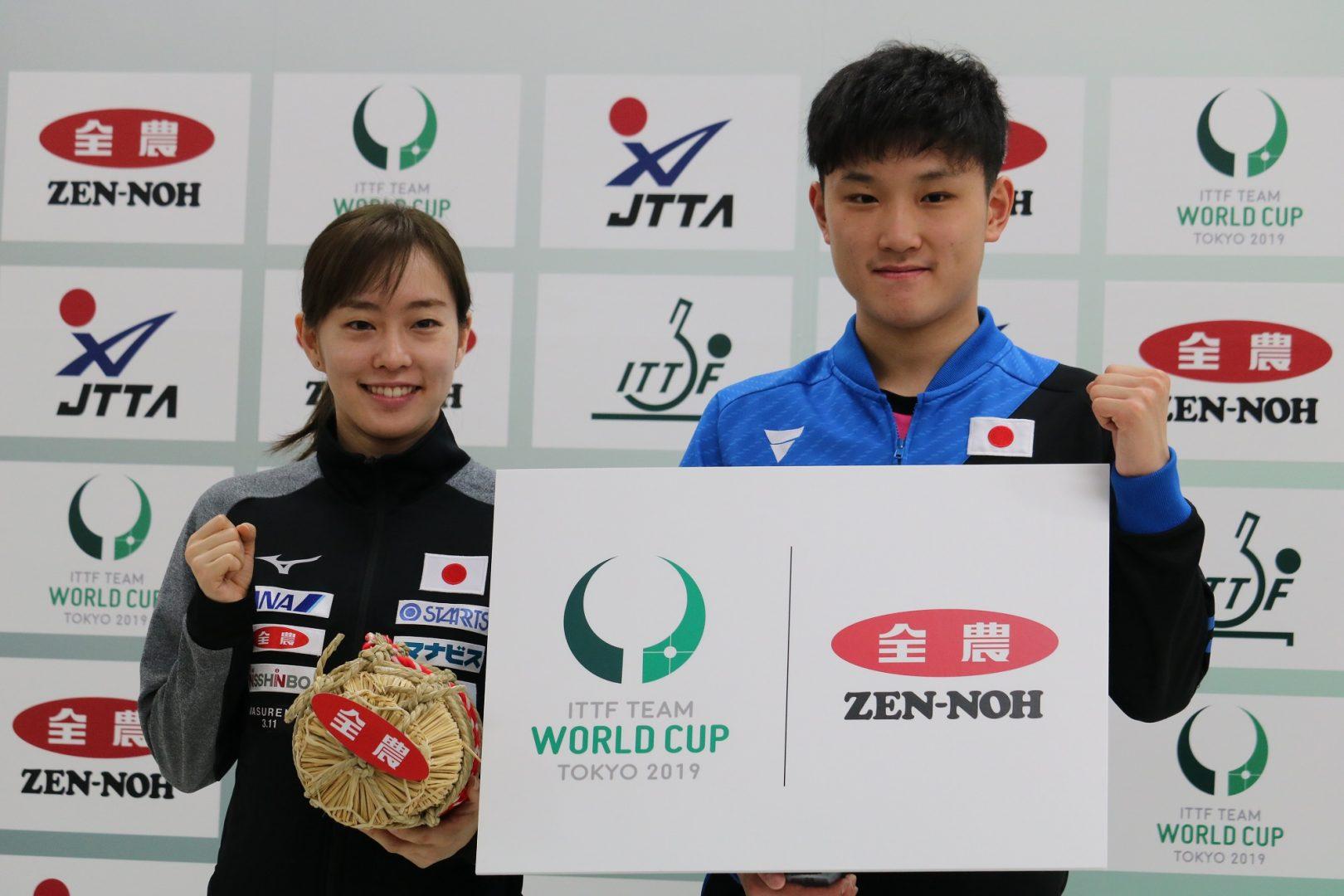 張本、石川が金メダルへ意気込み 張本「1つの大きな目標」<JA全農 2019ITTFチームワールドカップ東京大会>