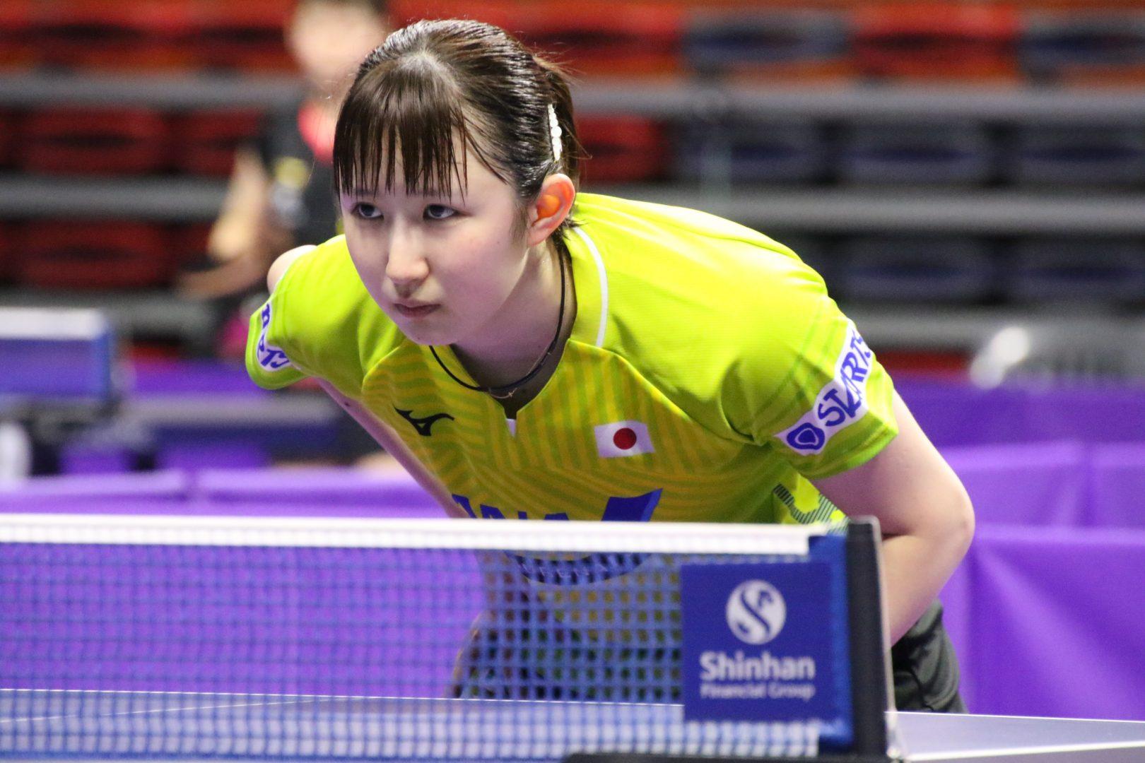 早田ひな、世界ジュニア女王の中国選手に逆転勝利<韓国OP>