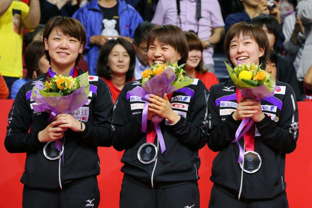 世界卓球2014女子の銀メダル獲得