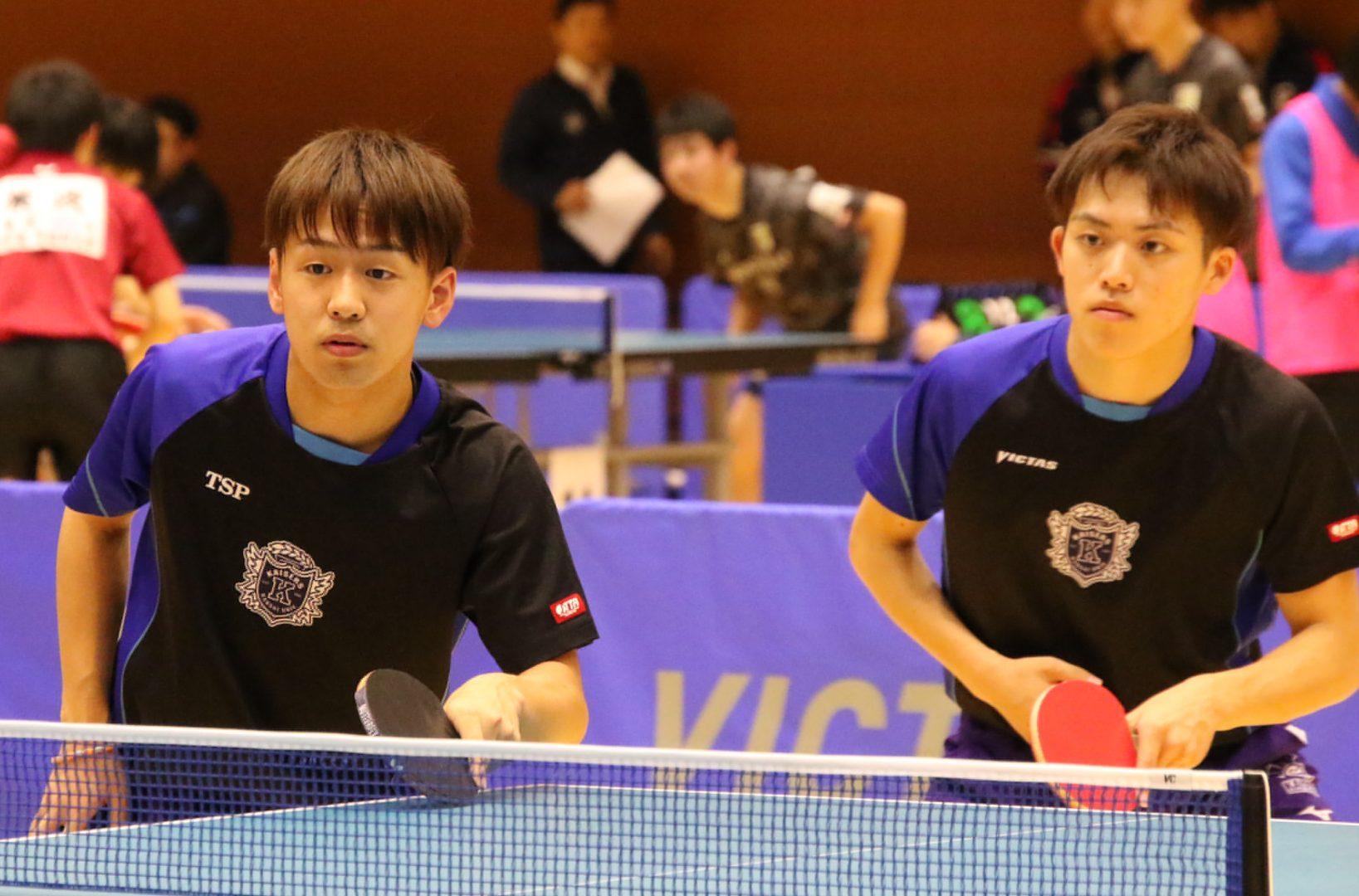 関西学生リーグ53年ぶり優勝の関西大学、2ペアとも初戦突破<卓球・全日学 男子ダブルス>