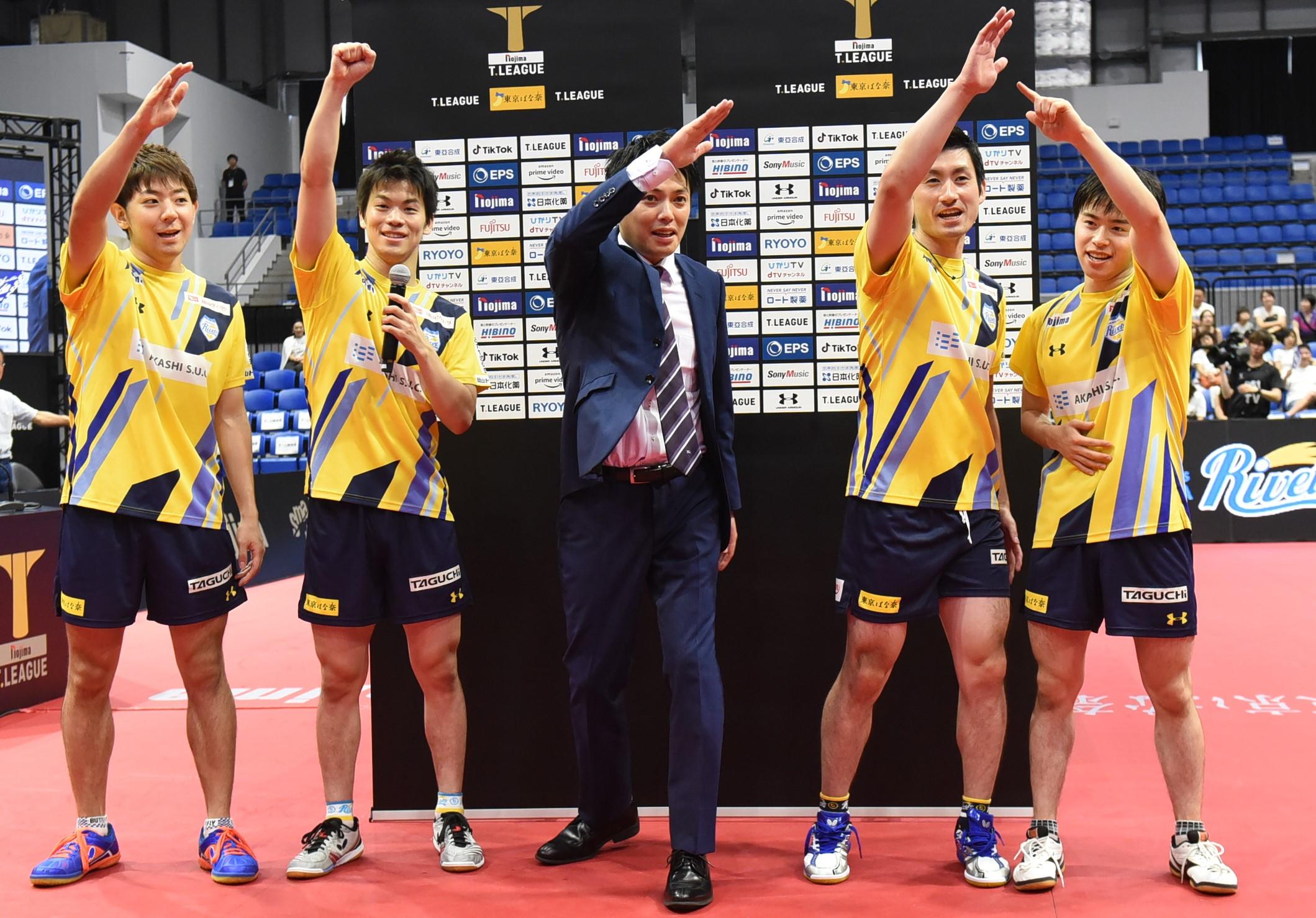 写真:岡山リベッツの選手たち/提供:©T.LEAGUE