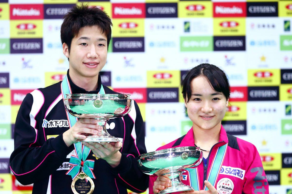 写真:水谷隼(左)、伊藤美誠/提供:西村尚己・アフロスポーツ
