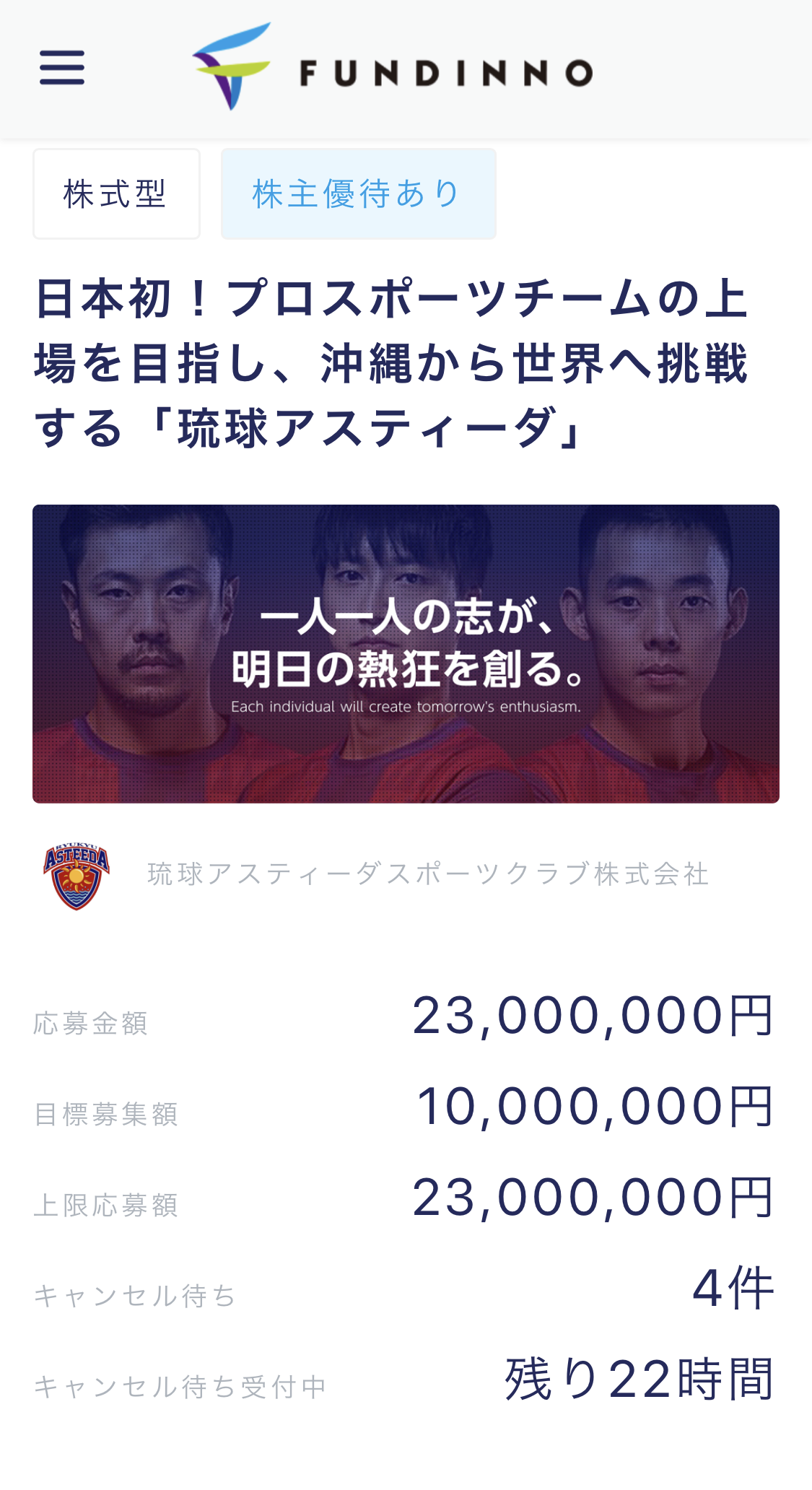 琉球アスティーダスポーツクラブ株式会社 FUNDINNOのサイト