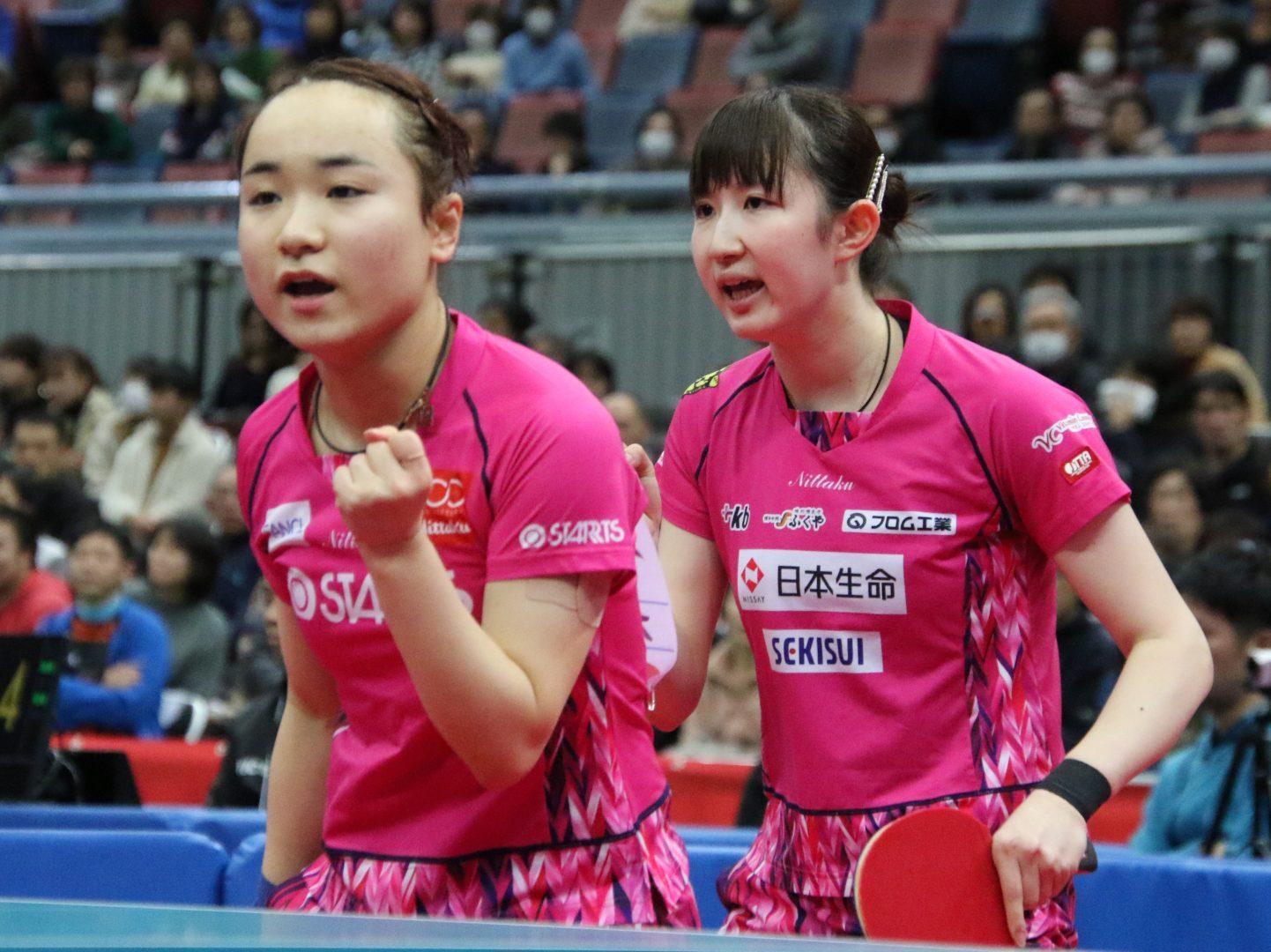 みまひなペア、落ち着きみせて逆転 3連覇目指し6日目へ<全日本卓球2020・女子複>