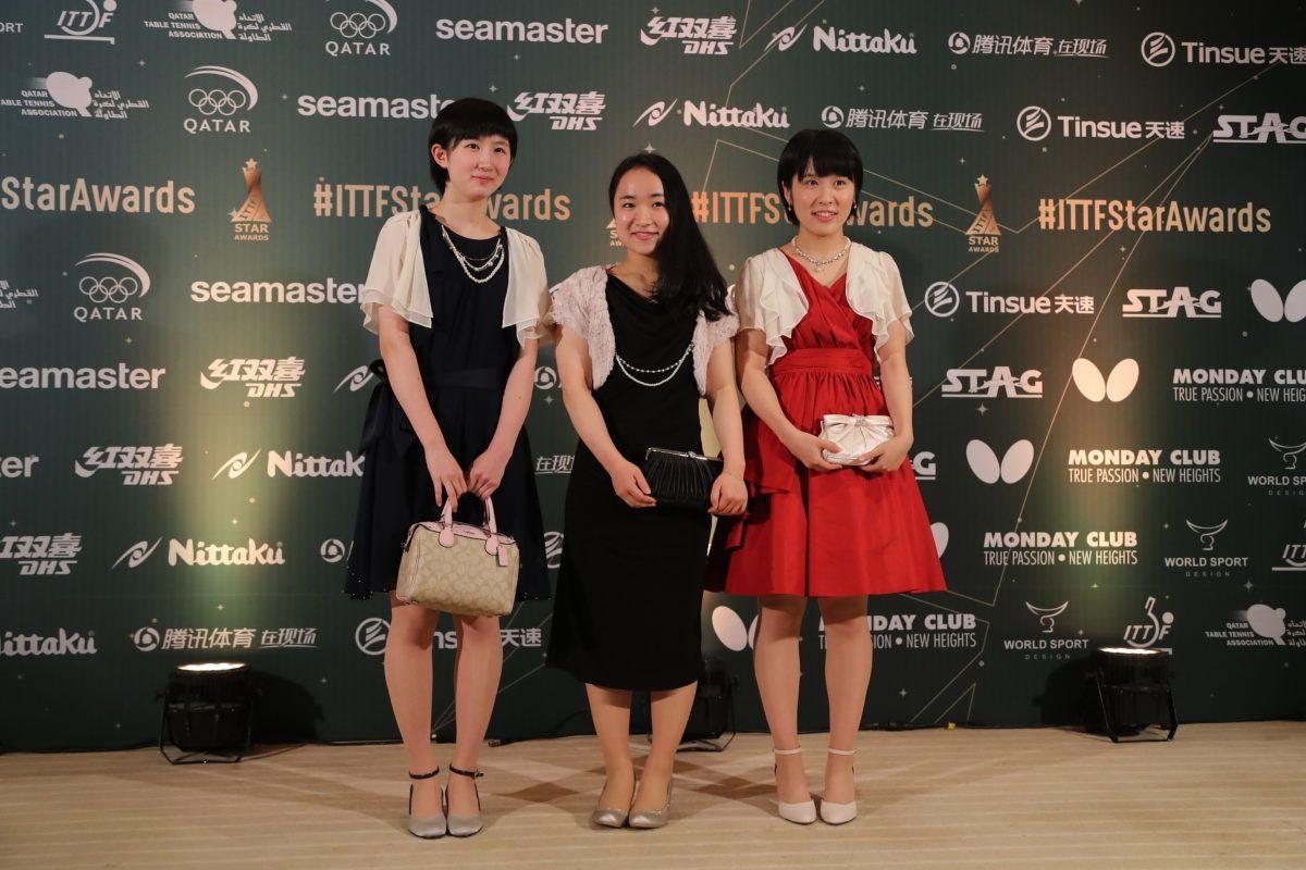 左から早田ひな・伊藤美誠・平野美宇(2016 ITTFアワード)/写真:ITTF・アフロ