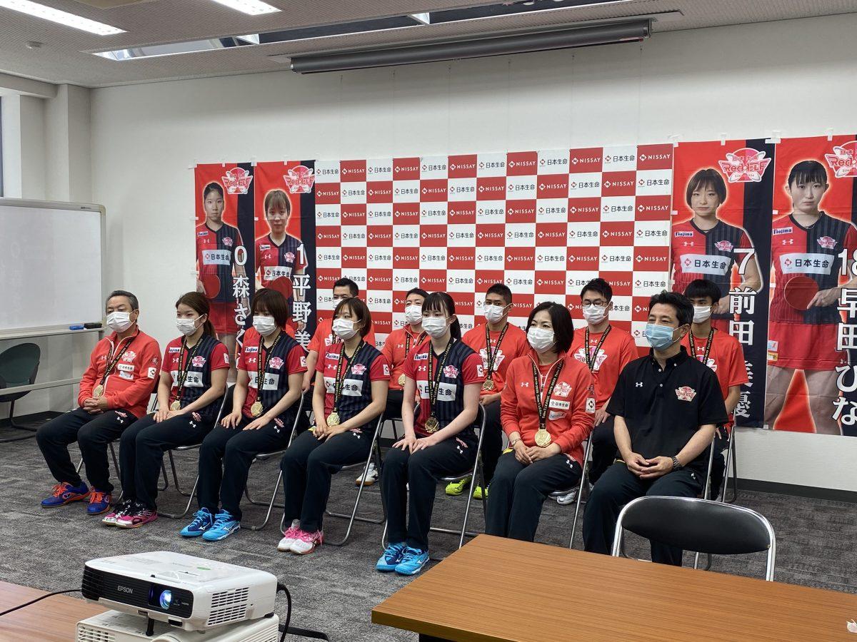 写真:オンライン報告会に参加した日本生命レッドエルフメンバー/提供:日本生命レッドエルフ