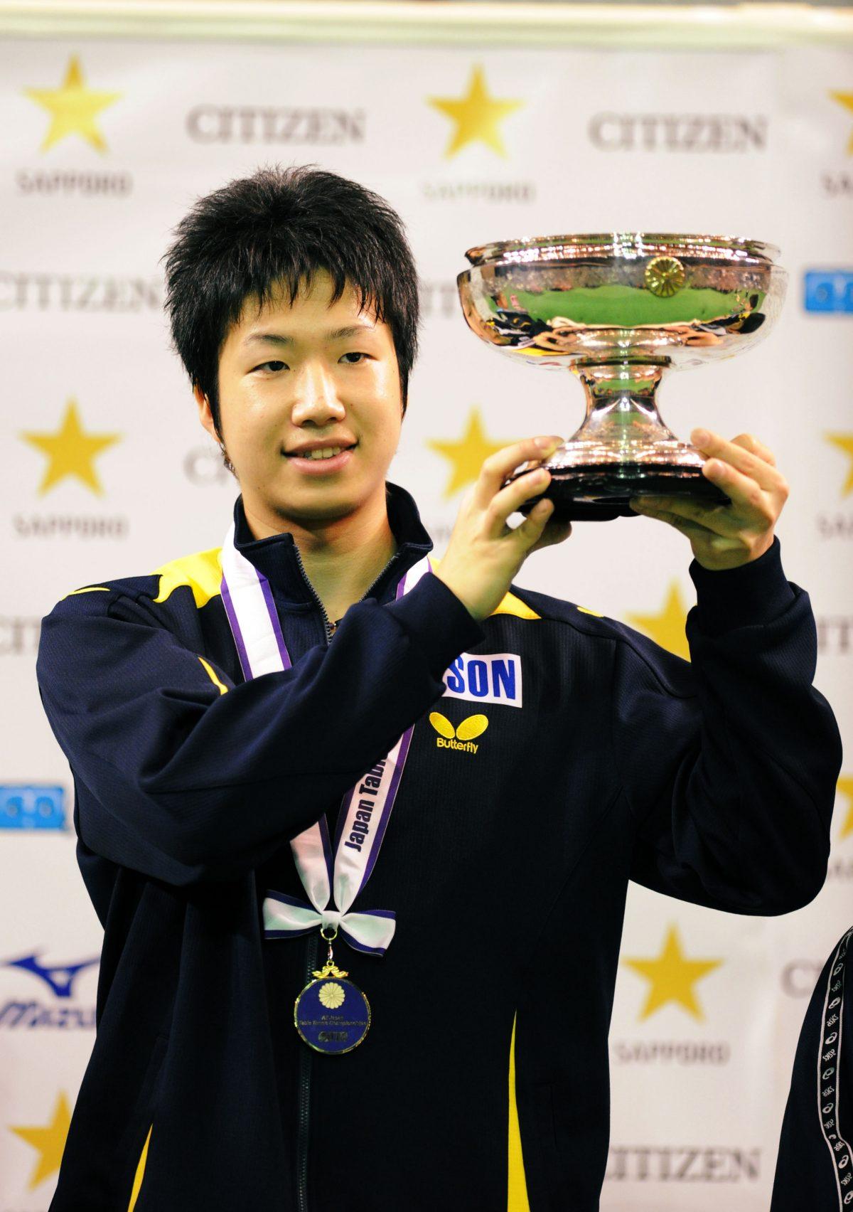 写真:2009年度全日本で優勝した水谷隼/提供:アフロスポーツ