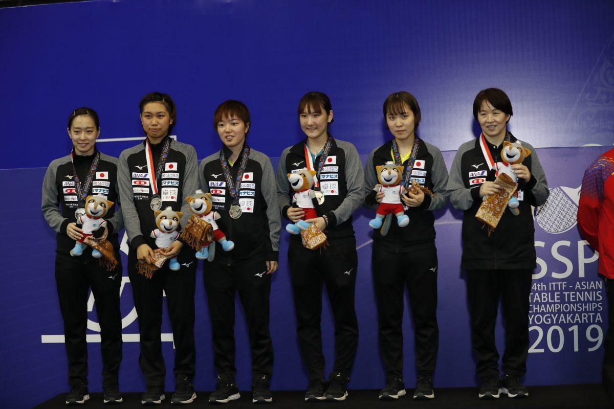 写真:2019年アジア選手権の日本女子団体メンバー/提供:ittfworld