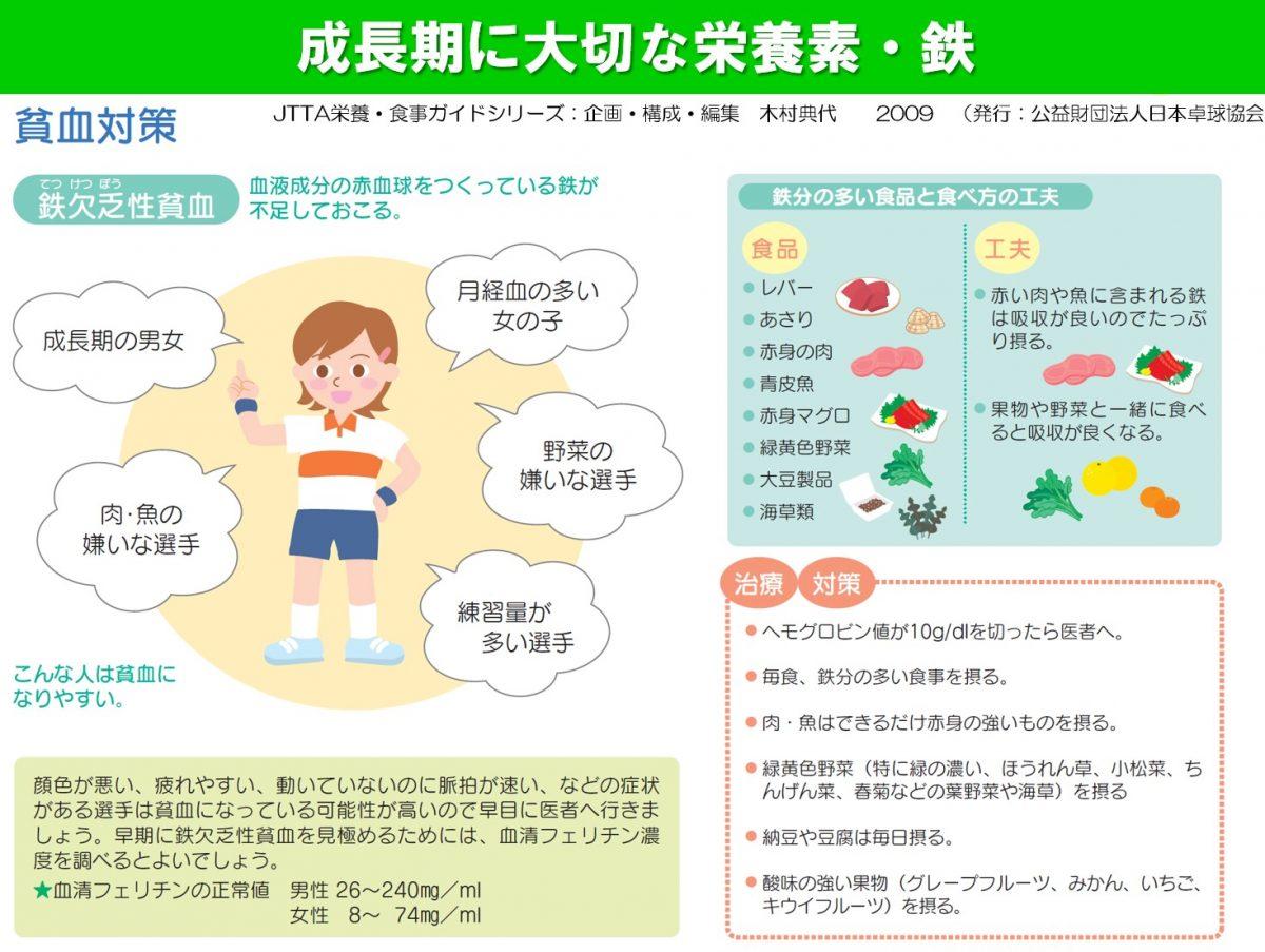写真:成長期に大切な栄養素・鉄(小・中学生選手対象の研修で使用された資料)/提供:JTTA栄養・食事ガイドシリーズ(木村典代)2009より