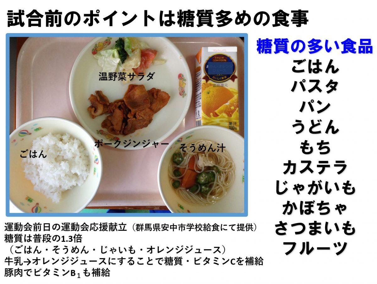 写真:ポイントは糖質多めの食事(学校給食にも応用)/提供:飯野直美