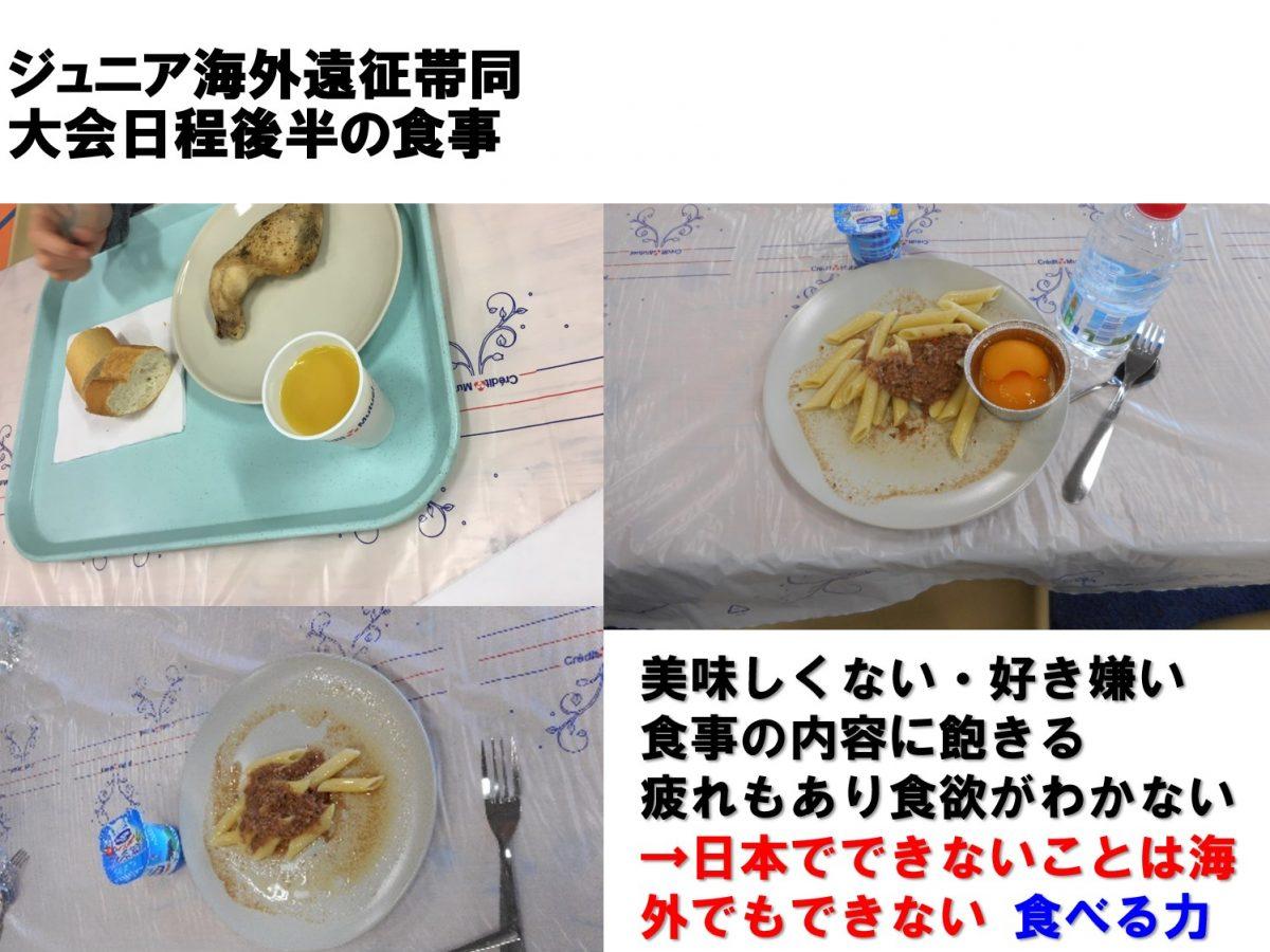 写真:海外遠征では食事の摂り方がより大事になってくる(小・中学生選手対象の研修で使用された資料より引用)/提供:飯野直美