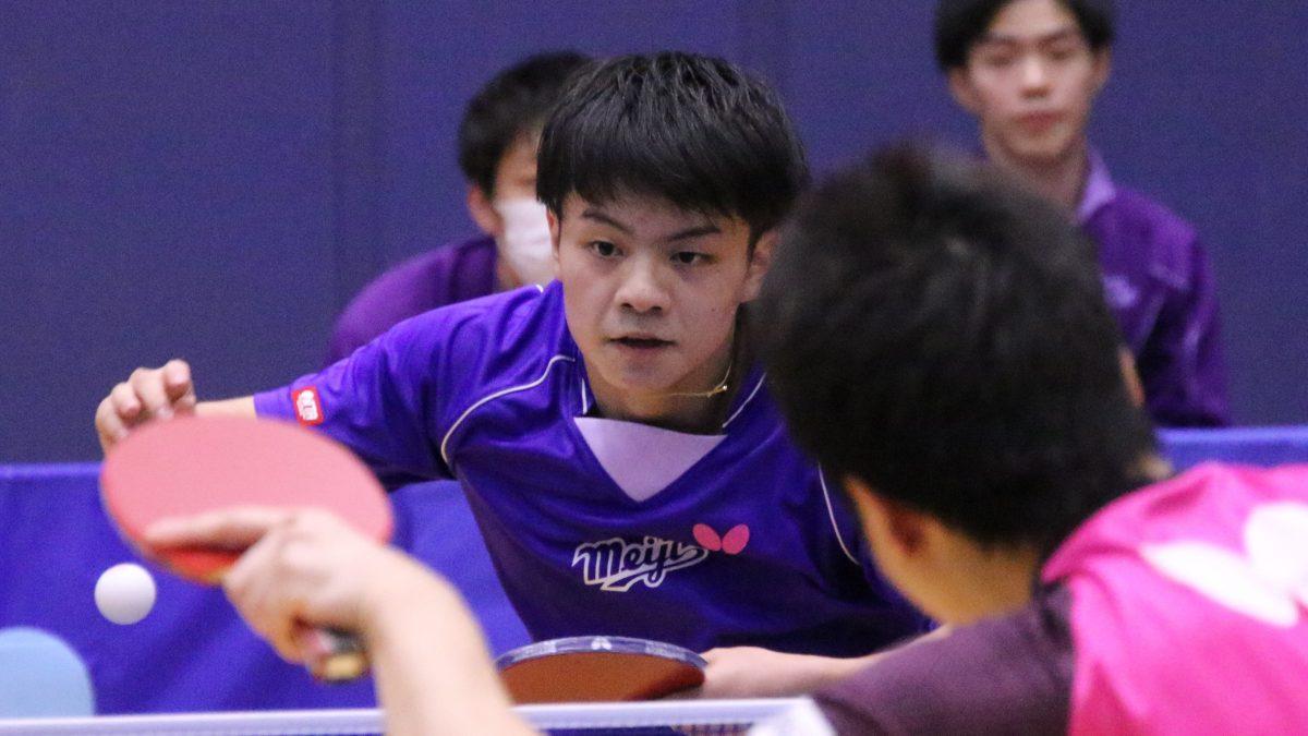 ルーキー宇田幸矢がラストで勝利 明大卓球部現役、五輪代表擁するOB下す