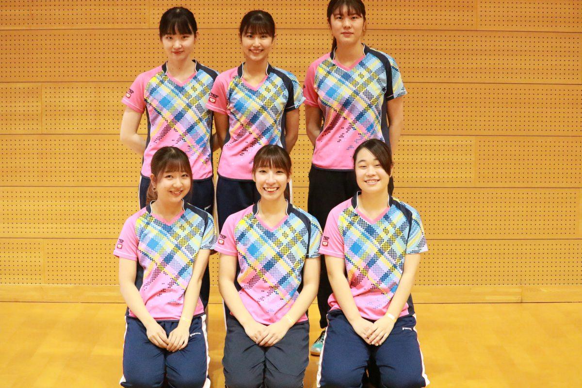 写真:女子3部優勝の椙山女学園大学/提供:東海学生卓球連盟