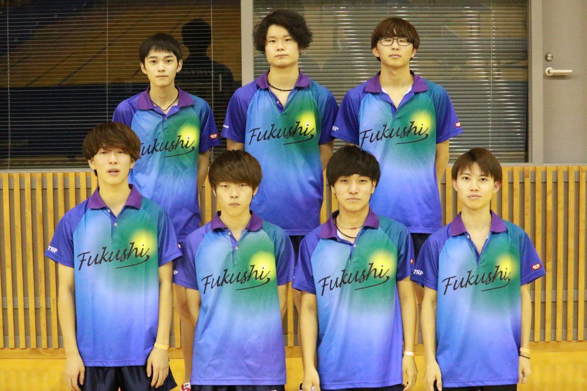 写真:男子2部優勝の日本福祉大学/提供:東海学生卓球連盟