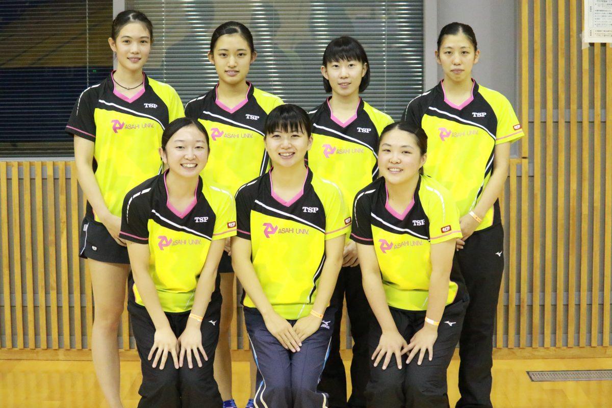 写真:女子1部準優勝の朝日大学/提供:東海学生卓球連盟
