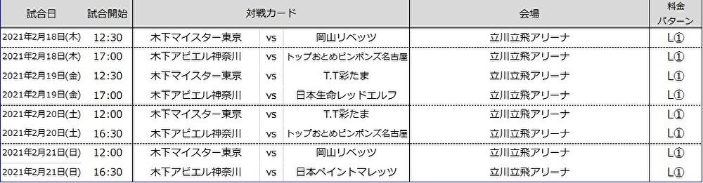 2月5日 チケット販売開始 対象試合