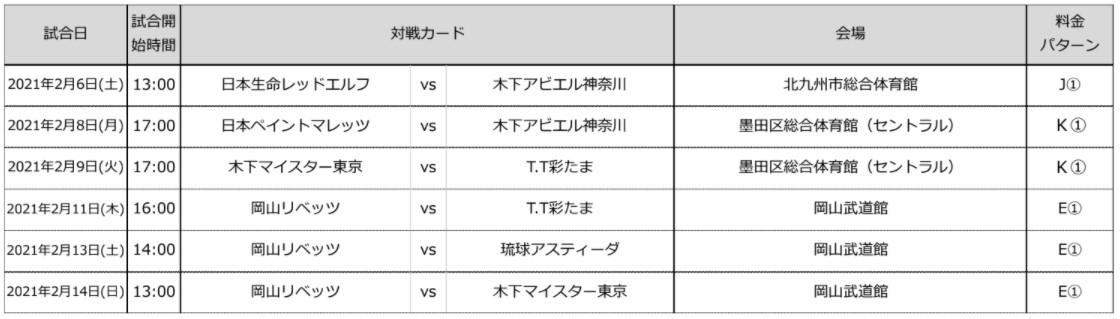 写真:チケット販売される試合/提供:©T.LEAGUE