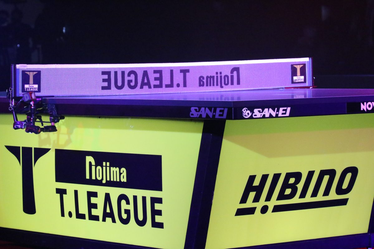 写真:Tリーグファイナルで使用された卓球台/撮影:ラリーズ編集部