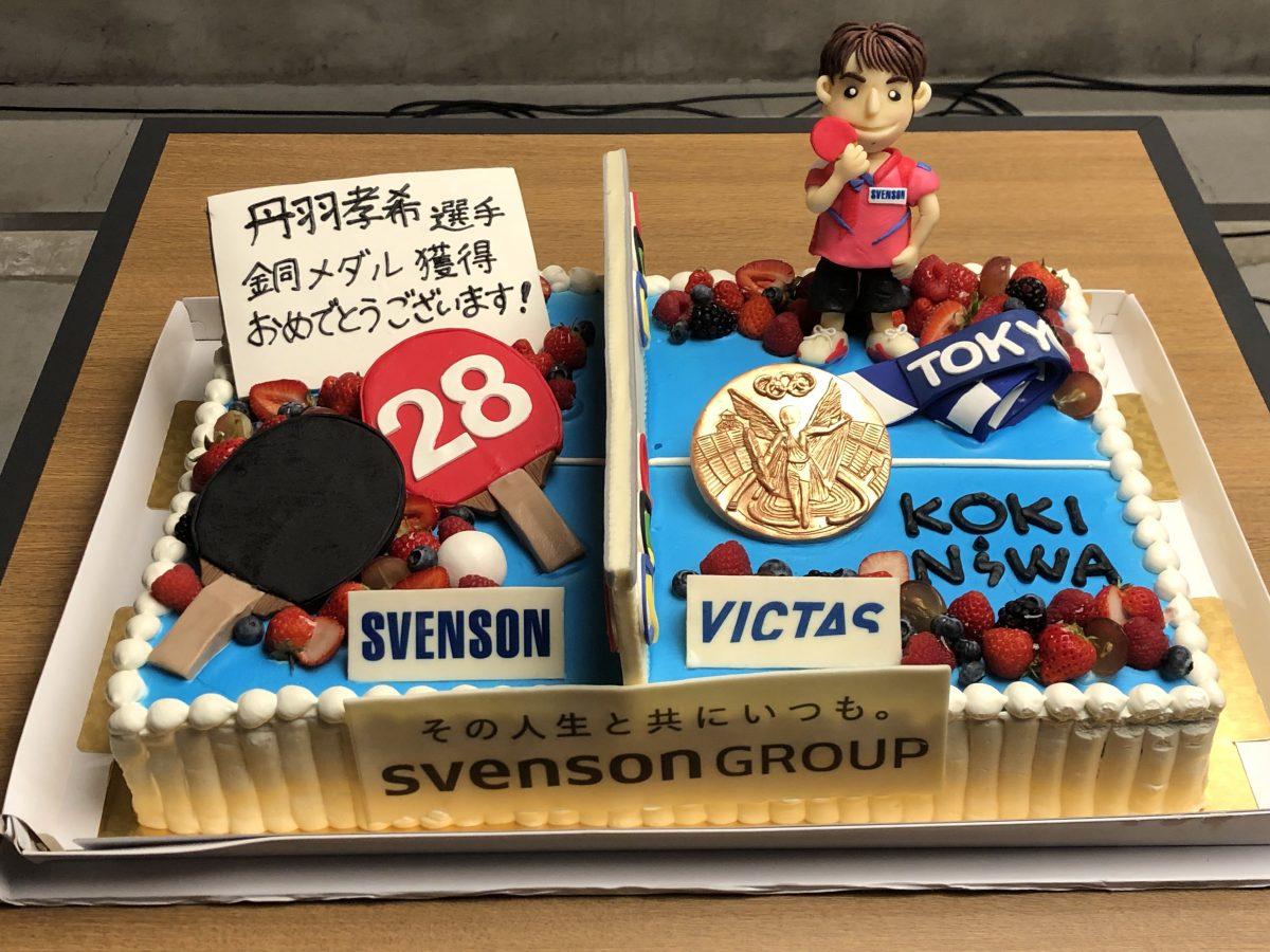 丹羽の祝勝ケーキには銅メダルが